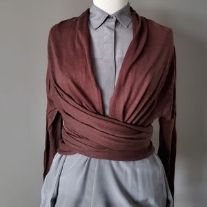 DKNY silk and cashmere sleeved open cardigan